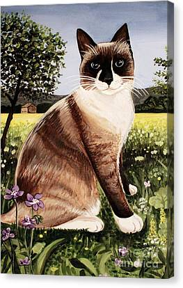 Canvas Print featuring the painting The Snowshoe Cat by Elizabeth Robinette Tyndall