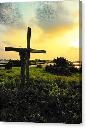 The Son And Sunset Canvas Print by Sheri McLeroy