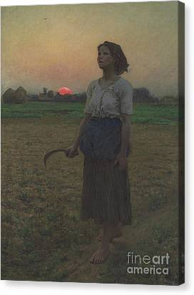 The Song Of The Lark Canvas Print by Jules Breton