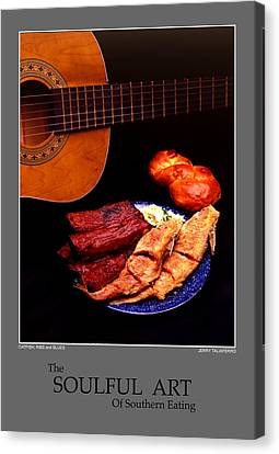 The Soulful Art Of Southern Eating-catfish And Ribs Canvas Print by Jerry Taliaferro