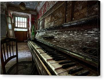 The Sound Of The Past - Old Piano In Abandoned Building Canvas Print