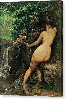 Bare Trees Canvas Print - The Source Or Bather At The Source by Gustave Courbet