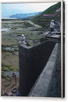 Canvas Print featuring the painting The South Bay In Scarborough. by Harry Robertson