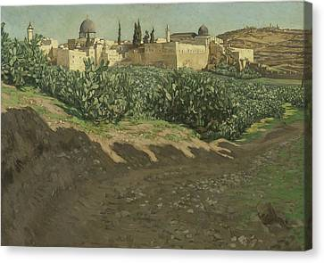 The Southwest Corner Of The Esplanade Of The Haram Canvas Print by Tissot