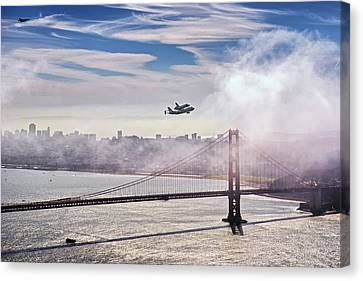 The Space Shuttle Endeavour Over Golden Gate Bridge 2012 Canvas Print by David Yu