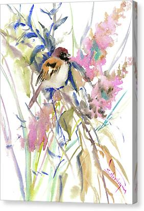 The Sparrow In The Garden Canvas Print by Suren Nersisyan