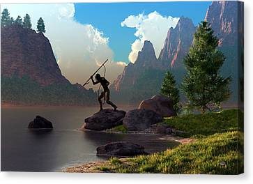 Canvas Print featuring the digital art The Spear Fisher by Daniel Eskridge