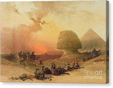 Traveller Canvas Print - The Sphinx At Giza by David Roberts