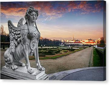 Historic Architecture Canvas Print - The Sphinx Of The Belvedere Vienna  by Carol Japp