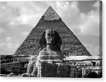The Sphynx And The Pyramid Canvas Print