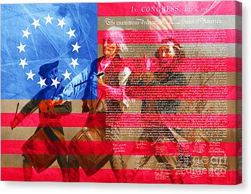 The Spirit Of 76 The American Flag And The Declaration Of Independence 20150704 Canvas Print by Wingsdomain Art and Photography