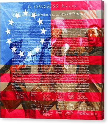 The Spirit Of 76 The American Flag And The Declaration Of Independence 20150704square Canvas Print