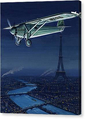 The Spirit Of St Louis Flying Over Paris Canvas Print by English School