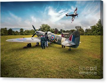 The Spitfire Parade Canvas Print by Adrian Evans