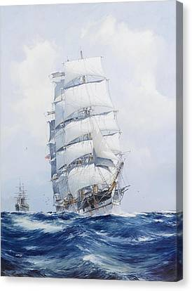 Tall Ship Canvas Print - The Square-rigged Clipper Argonaut Under Full Sail by Mountain Dreams