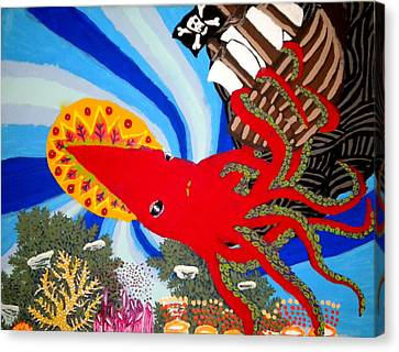 The Squid And The Pirate Ship Canvas Print by Nick Reaves