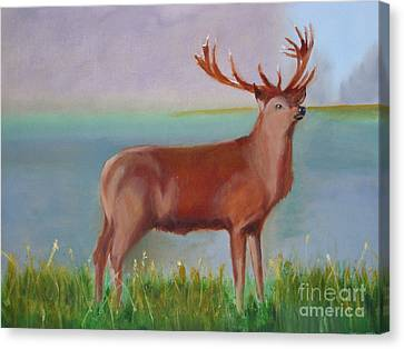 Canvas Print featuring the painting The Stag by Rod Jellison