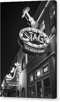 Nashville Tennessee Canvas Print - The Stage On Broadway In Black And White - Nashville by Gregory Ballos