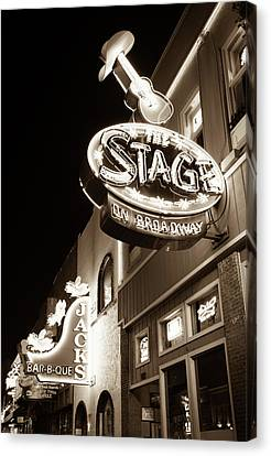 Nashville Tennessee Canvas Print - The Stage On Broadway In Sepia - Nashville by Gregory Ballos