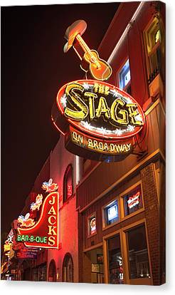 Nashville Tennessee Canvas Print - The Stage On Broadway - Nashville by Gregory Ballos