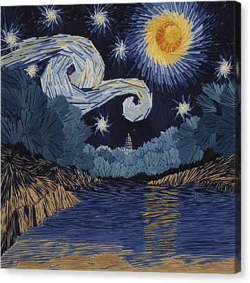 The Starry Night At Barton Springs Canvas Print by Barbara Lugge