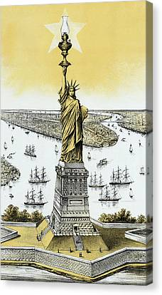 The Statue Of Liberty - Vintage Canvas Print by War Is Hell Store