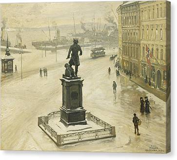 The Statue Of Tordenskiold Facing Piperviken Canvas Print