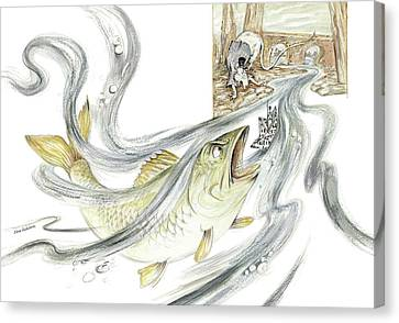 The Steadfast Tin Soldier - In Paper Boat, Pursued By Angry Rat, Hungry Fish - Illustration Canvas Print by Elena Abdulaeva