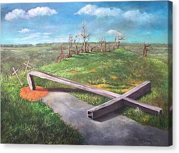 Canvas Print featuring the painting Millsfield Tennessee Steel Cross by Randol Burns