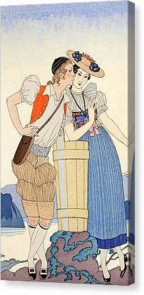 The Stolen Kiss Canvas Print by Georges Barbier