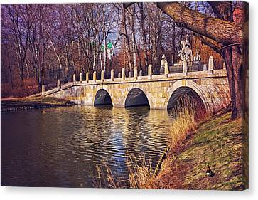 The Stone Bridge In Lazienki Park Warsaw  Canvas Print