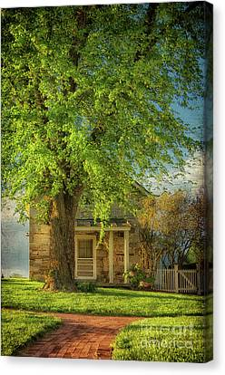 Screen Doors Canvas Print - The Stone Cottage On A Spring Evening by Lois Bryan