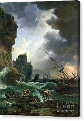 Setting Canvas Print - The Storm by Claude Joseph Vernet