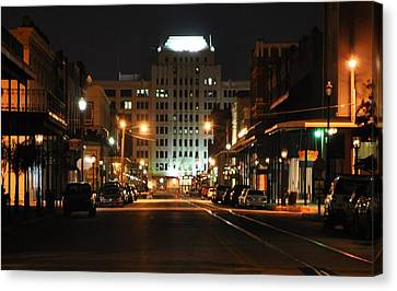 Canvas Print featuring the photograph The Strand At Night by John Collins