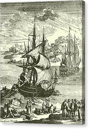 The Stranding Of The Aimable, Matagorda Bay, Texas, 1685 Canvas Print by French School