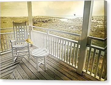 Adirondack Chairs On The Beach Canvas Print - The Straw Beach Hat by Diana Angstadt