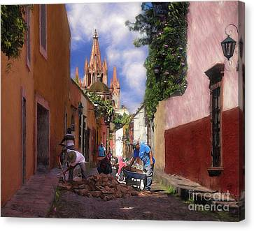 The Street Workers Canvas Print by John  Kolenberg