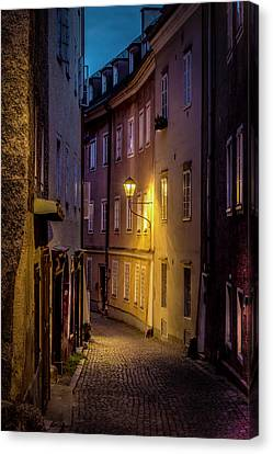 Canvas Print featuring the photograph The Streets Of Salzburg by David Morefield