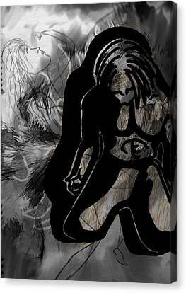 Canvas Print featuring the drawing The Struggle Within by Sheila Mcdonald