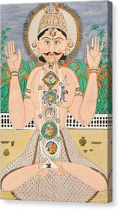 The Subtle Body And The Chakras Canvas Print by Indian School