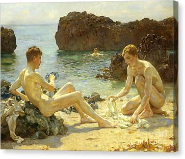 Swimmers Canvas Print - The Sun Bathers by Henry Scott Tuke