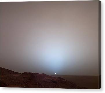 The Sun Setting Below The Rim Of Gusev Canvas Print by Nasa