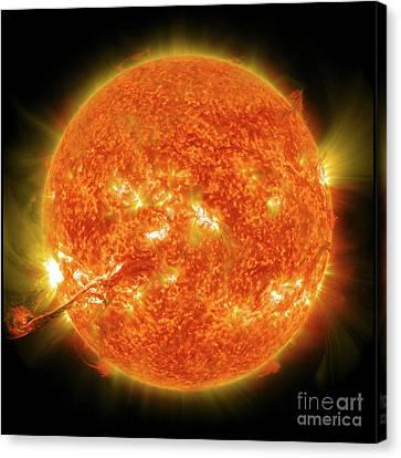 The Sun, Solar Prominince, Solar Flare, Space Canvas Print by Tina Lavoie