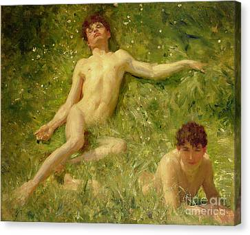 The Sunbathers Canvas Print by Henry Scott Tuke