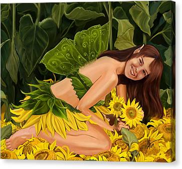 The Sunflower Fairy Canvas Print by Maggie Terlecki
