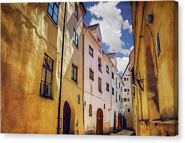 The Sunny Streets Of Old Riga  Canvas Print