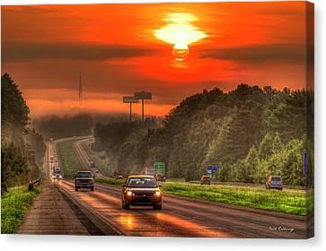 The Sunrise Commute Georgia Interstate 20 Art Canvas Print