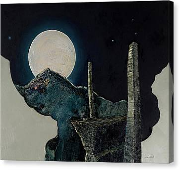 Silver Moonlight Canvas Print - The Super Moon by Mehdi Ashlaghi
