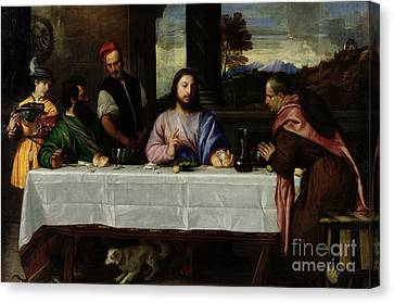 The Supper At Emmaus Canvas Print by Titian