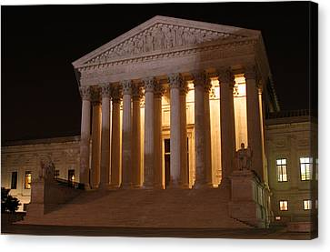 The Supreme Court Building At Night Canvas Print by Brian M Lumley
